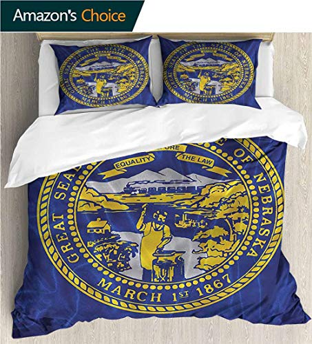 Home 3 Piece Print Quilt Set,Box Stitched,Soft,Breathable,Hypoallergenic,Fade Resistant with 2 Pillowcase for Kids Bedding-American State of Nebraska Equality (87