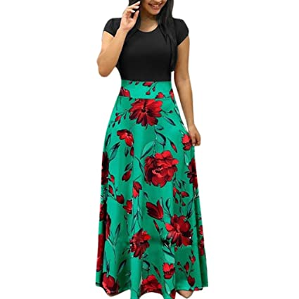 51ecd1b2ea Hmlai Women Casual Maxi Dress Floral Printed Summer Short Sleeve Elegant  Party Long Sundress (Green