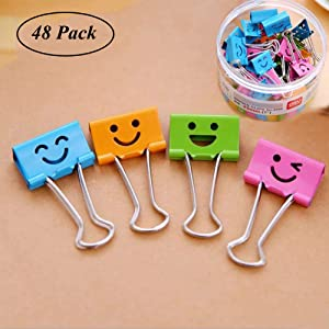 Medium Metal Paper Clips Assorted, Coideal 48 Pack Colored Binder Clips with Cute Lovely Hollow Smiling Face/Multi Color Photo File Paper Document Clip Clamp Organizer for Office Home (25mm)