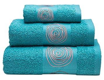 Sancarlos Juego de toallas bordadas Nudos , Algodón, Azul, 3 piezas: Amazon.es: Hogar