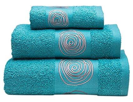 Sancarlos Juego de toallas bordadas Nudos , Algodón, Azul, 3 piezas