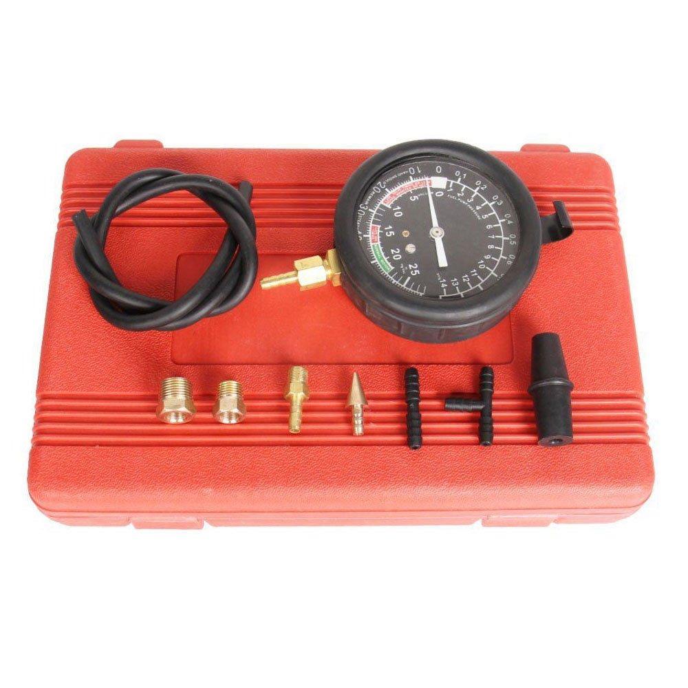 SUNROAD Professional Fuel Pump Vacuum Carburetor Valve Pressure Tester Gauge Test Kit 100 PSI Car Truck with Red Case