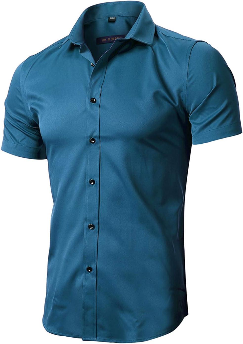 Esast Men Dress Shirts Bamboo Fiber Short Sleeve Casual Button Down Shirts Formal Shirts