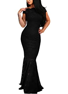 3db27a18b Elapsy Womens Sexy Off Shoulder Bardot Lace Evening Gown Fishtail Maxi Dress