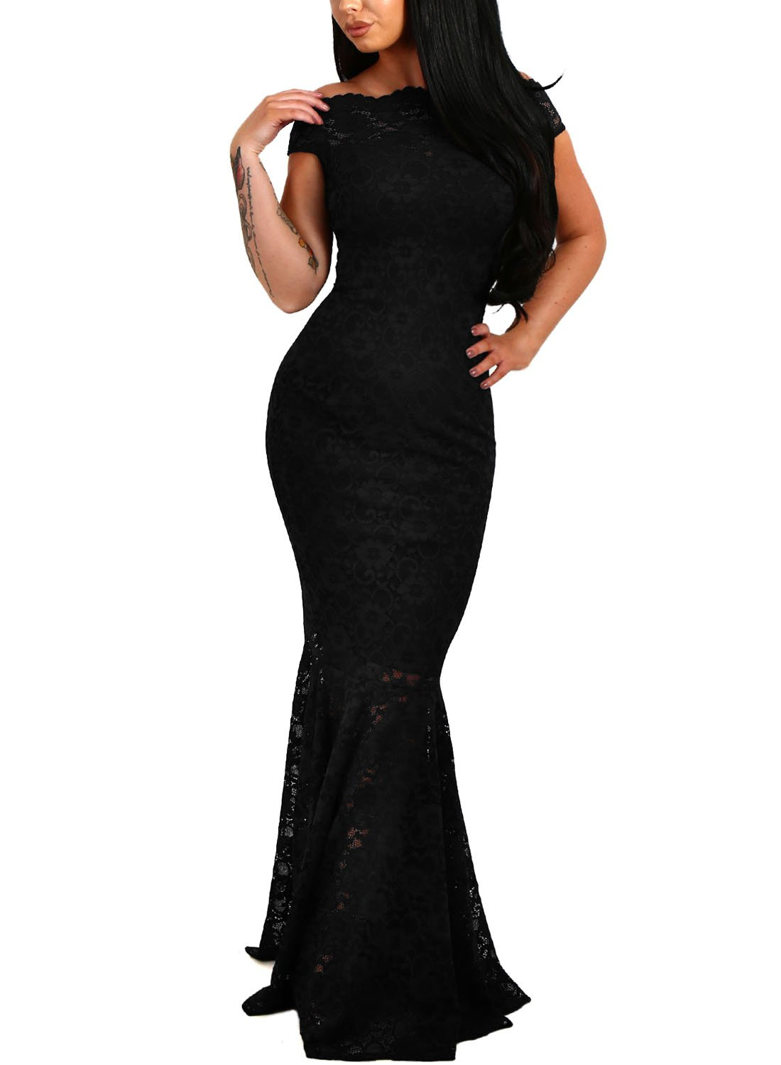 Elapsy Womens Sexy Elegant Off Shoulder Bardot Lace Evening Gown Fishtail Maxi Party Formal Dress Black Large