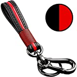 Leather Key Chain for Keys, Zinc Alloy Metal Red Key Chain for Car Key, Classic Gift Car Key Chain for Man and Women (Red)