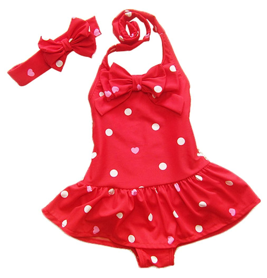 ilishop Little Girls' Bathing Suit 2pcs Swimsuit Halter Neck Swimwear CY-NTYY1006