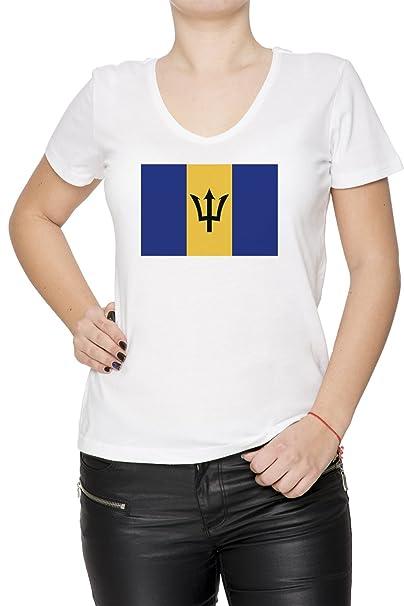 fb4e2da853 Barbados Nacional Bandera Mujer Camiseta V-Cuello Blanco Manga Corta Tamaño  S Women s T-