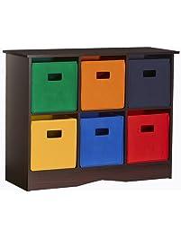 RiverRidge Kids 6 Bin Storage Cabinet, Espresso