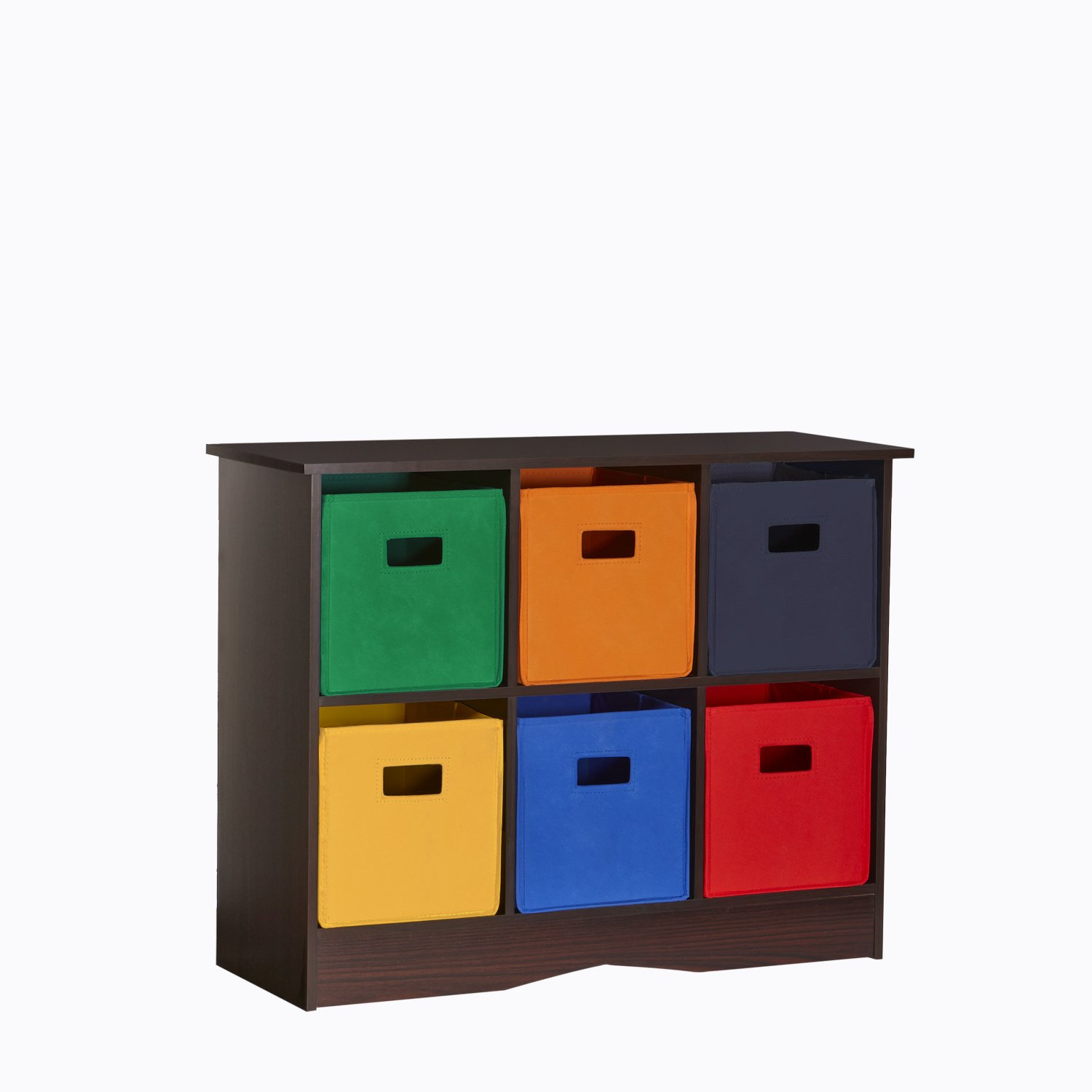 Espresso Primary RiverRidge 6 Bin Storage Cabinet for Kids, Espresso