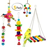 UMIWE 5 Pcs Pet Bird Parrot Cage Toy, Parakeet Bird Toys Perches Swing Hanging Toys with Colorful Wood Beads Bells Sepak Takraw for Conures Parrots Cockatiels Macaws Finches