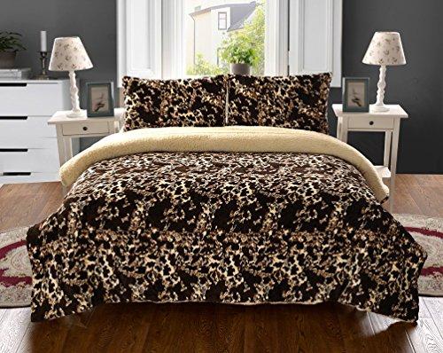 JBFF 3 Piece Leopard Print Super Soft Borrego Blanket Plush Reverse to Sherpa, Cal King - Animal Print Super Soft Blanket