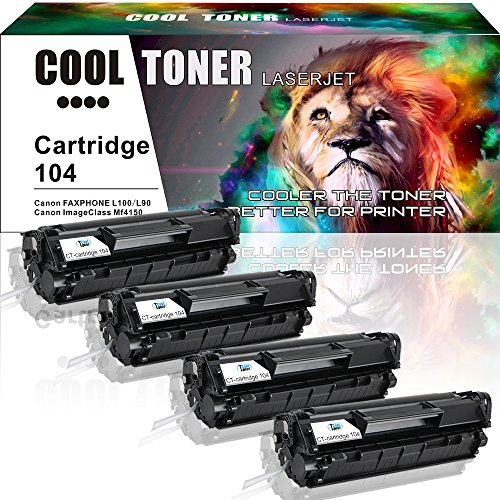 Canon Laser Oem Cartridge (Cool Toner 4 Pack Compatible 104 Cartridge 104 CRG-104 Fx-10 Fx-9 Black Toner Cartridge For Canon 104 Canon Faxphone L100 L90 L120 ImageClass MF4350d MF4150 D480 MF4350 MF4370dn MF4270 LBP3000 Printer)