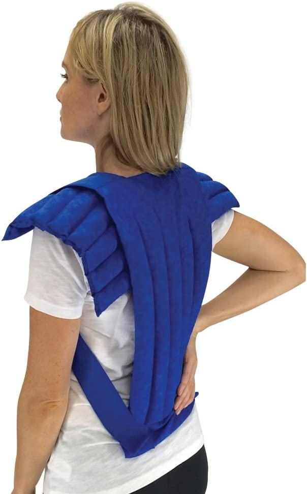 Nature Creation- Set of Upper Body Wrap Heating Pad + Spine & Back Herbal Pack - Microwave & Freezer Hot & Cold Therapy (Blue Marble)