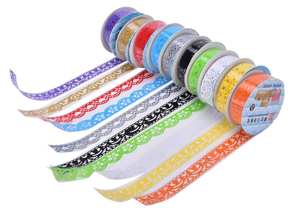 Demarkt 3 Pcs Lace Tape Decorative Sticky Adhesive Lace Flower Clear Washi Tape Paper Masking Adhesive Tape for DIY Craft