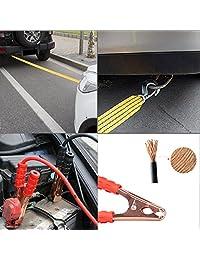 XOOL Kit de emergencia para coche, kit de emergencia para coche con destornillador, cuerda de remolque, triángulo de seguridad, medidor de presión de los neumáticos, chaleco de seguridad y más accesorio ideal de invierno para su coche, vehículo, camión o