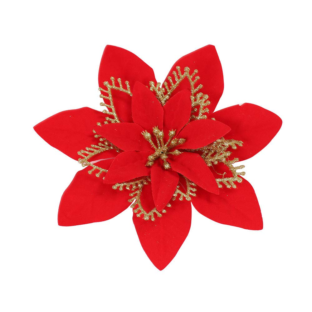 Mome ʕ •ᴥ•ʔHanging Garland ʕ •ᴥ•ʔ 1PC 20CM Romantic Rosette Hanging Charm Party Decoration Christmas Tree Ornament Flower,for Indoor Or Outdoor,Gold Red Silver (Red)