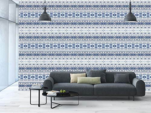 Large Wall Mural Sticker [ Indian,Ethnic Hand Drawn Tribal Motifs Geometric Borders Striped Native Art Decorative,Blue Light Blue White ] Self-adhesive Vinyl Wallpaper / Removable Modern Decorating Wa ()