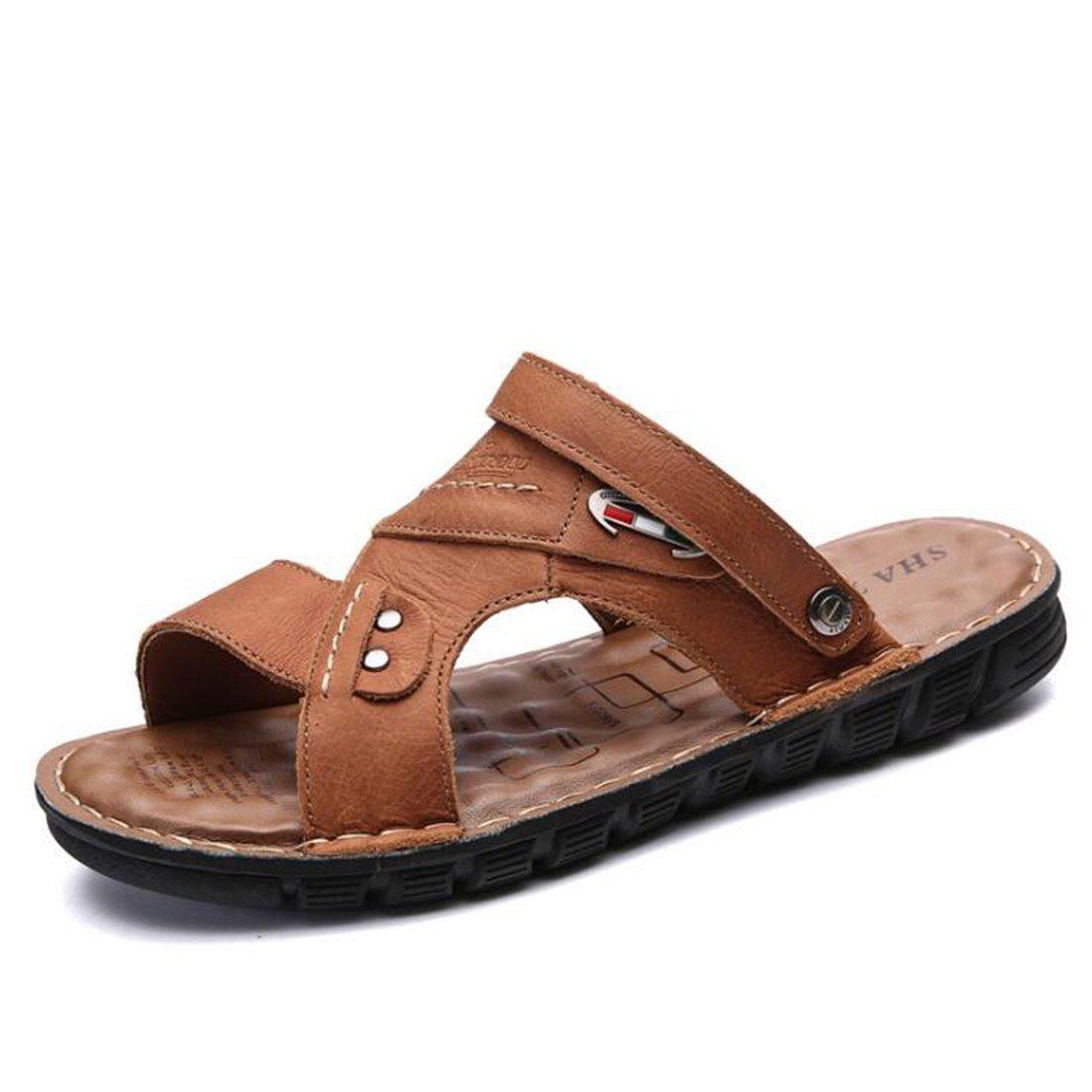 ZHONGST Herren Sommer Sandaleen Leder Casual Sandaleen Outdoor Beach Schuhe