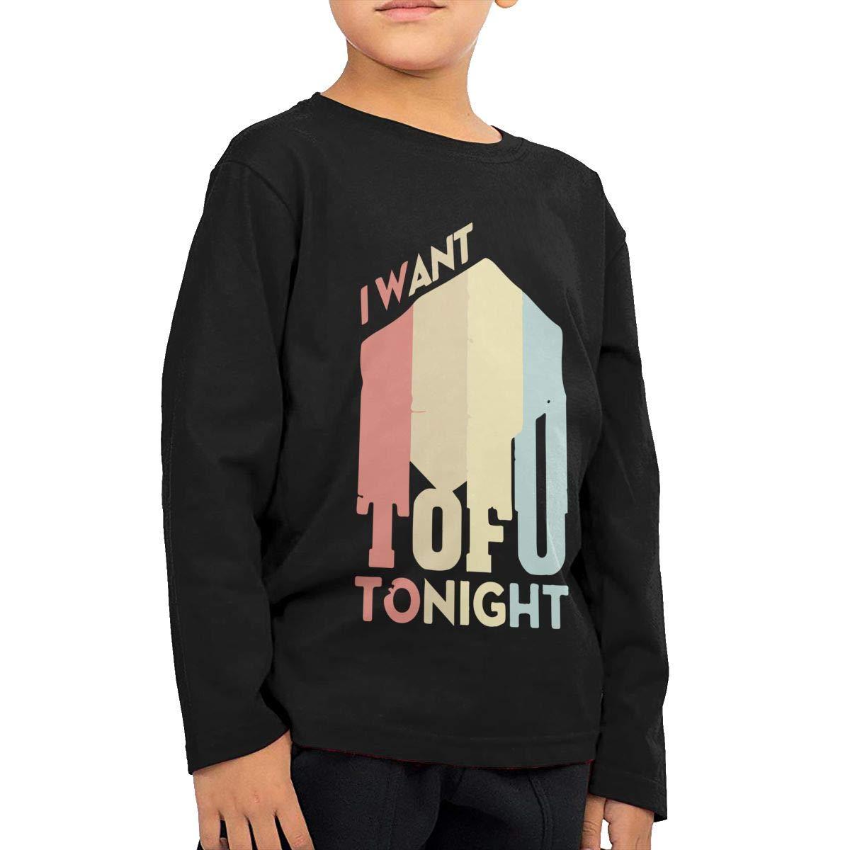 I Want Tofu Tonight Retro Vegan Fashion Toddler Children Baby Boys Girls Long Sleeve T Shirts Tops