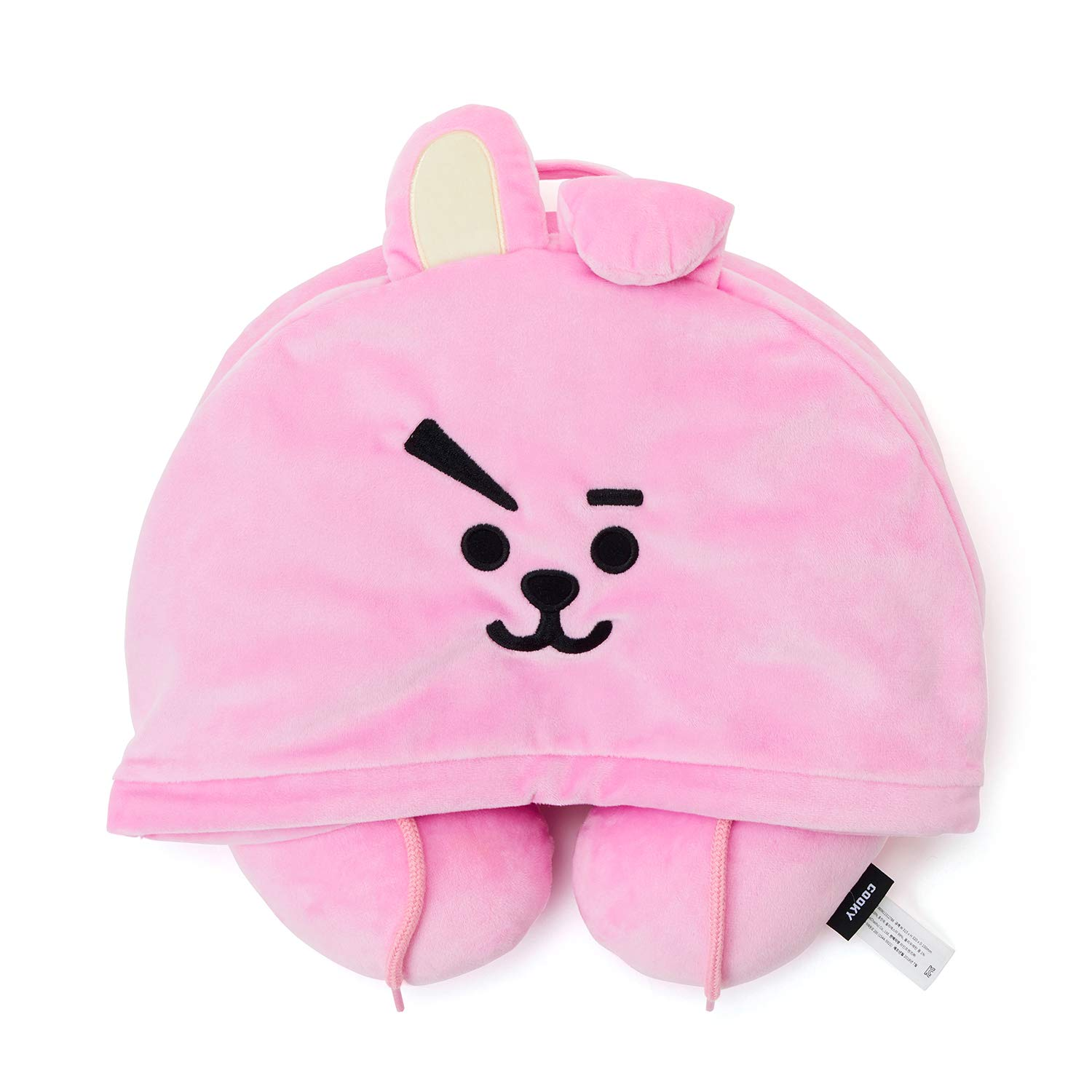BT21 Official Merchandise by Line Friends - Cooky Character Hooded Travel Neck Pillow, Pink by BT21