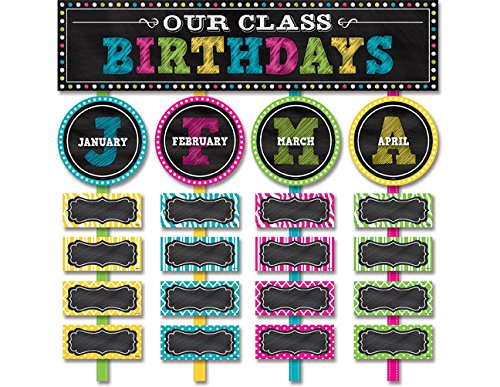 Teacher Created Resources Chalkboard Brights Our Class Birthdays Mini Bulletin Board 5506