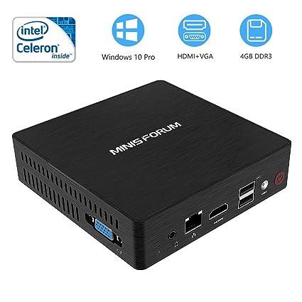 Mini PC, procesador Intel Celeron N3060 Mini computadora de escritorio 4G DDR3/64GB eMMC con Windows 10 Pro, HDMI+VGA Pantalla doble /4K/USB3.0/ ...