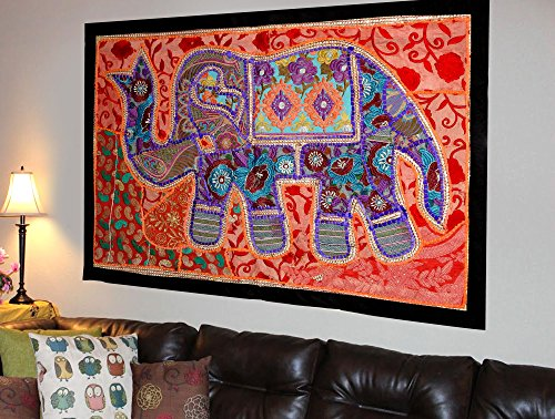 (Indian Vintage Handmade Bohemian Patchwork & Sequin Elephant Wall Hanging Embroidered Tapestry Home Decor - 26 X 38 Inches)