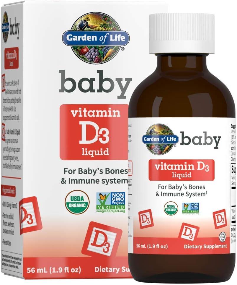 Garden of Life Baby Vitamin D3 Liquid, 600 IU (15 mcg) Organic Liquid Vitamin D for Infants & Toddlers, Support for Baby's Bones & Immune System, Gluten Free & Non-GMO, 56 mL (1.9 fl oz) Liquid