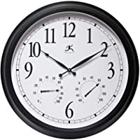 Large Outdoor Clock Large 24 inch with Humidity and Temperature Perfect for Outdoors, Patio, Garage, Backyard, Pool Outdoor Clock Thermometer Combo 24 inch Easy-to-Read Outdoor Weatherproof Clock