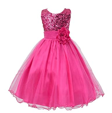 Ponce Kids Clothes Baby Flower Girls Sequins Party Dress Occasion Gown Formal Bridesmaid Dresses UK
