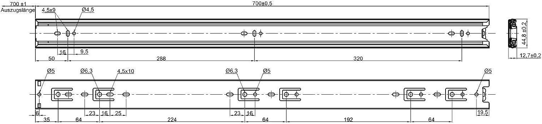 eingeschoben Vollausz/üge KV3-45-H45-L750-NF schwarz 750 mm Kugelf/ührung mit 45 kg Belastbarkeit SOTECH 4 Paar 8 St/ück