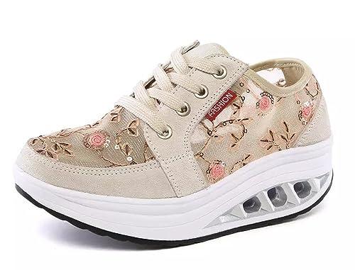 Mujer Zapatos de Deporte Adelgazar Zapatos Sneakers para Caminar Zapatillas Aptitud Cuña Plataforma Zapatos de Cuero Gamuza Primavera Verano Zapatos de ...