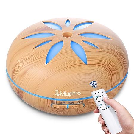 Aroma Difusor, Miuphro 550 ml Humidificador Ultrasónico, Silencioso Difusor de Aceites Esenciales, 7-Color LED, 4 Ajustes de Tiempo, Auto-Apaga, para ...