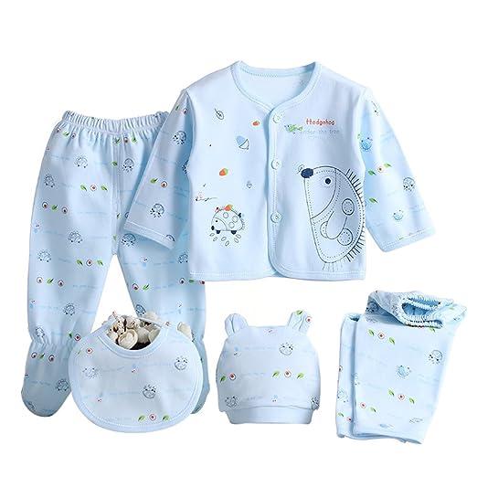 57b0f7ab71b MIOIM Newborn Baby 0-3M Boys Girls Cotton Tops Hat Pants Outfit Sets 5PCS