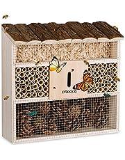 Cadoca Cassetta per insetti in legno 31x31 nidificazione hotel insetti refugio api coccinelle api vespe griglia metalica