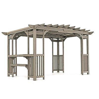 Yardistry YM11783 Pergola with Sunshade and bar, Grey: Garden & Outdoor