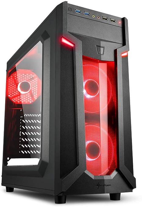 Sharkoon VG6-W - Caja de Ordenador, PC Gaming, Semitorre ATX, Negro/Rojo: Amazon.es: Informática