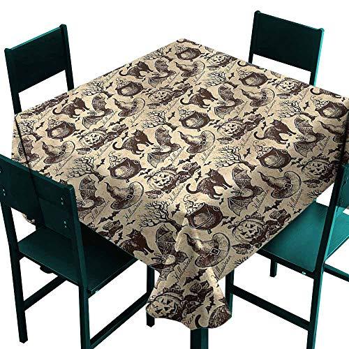 DONEECKL Wrinkle Resistant Tablecloth Vintage Halloween Black Cat Motif Excellent Durability W60 xL60]()