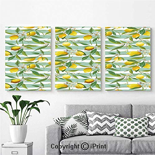 Modern Salon Theme Mural Blooming Lemon Tree on Striped Paintbrush Background Evergreen Art Painting Canvas Wall Art for Home Decor 24x36inches 3pcs/Set, Fern Green Seafoam Yellow