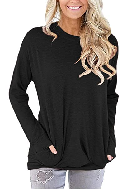 13e59945da onlypuff Black Casual Solid Color Shirt for Women Long Sleeve Tunic Tops  with Pockets Round Neck