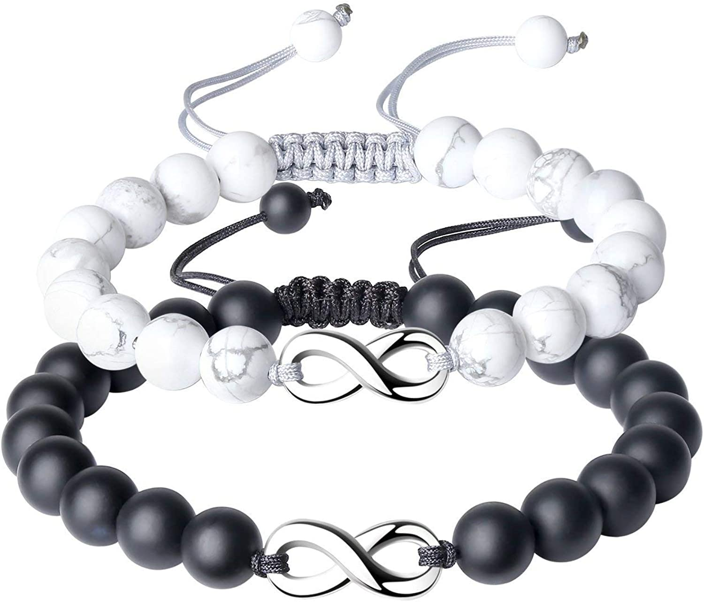 Hommes Femmes Bracelet Matte Black Onyx S925 Argent sterling réglable tressé 695