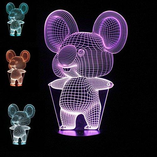 SUPERNIUDB 3D Night Light Animal Koala 3D LED USB 7 Color Change LED Table Lamp Xmas Toy Gift by SUPERNIUDB