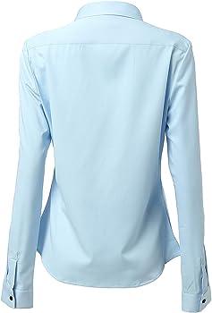 Mujer Camisa Básica Mujer Slim Fit - Camisa Blusa Casual de Fibra de Bambu Manga Larga Informal con Cierre de Botónl, Ideal para Oficina/Trabajo/Entrevista (Azul, EU34): Amazon.es: Ropa y accesorios