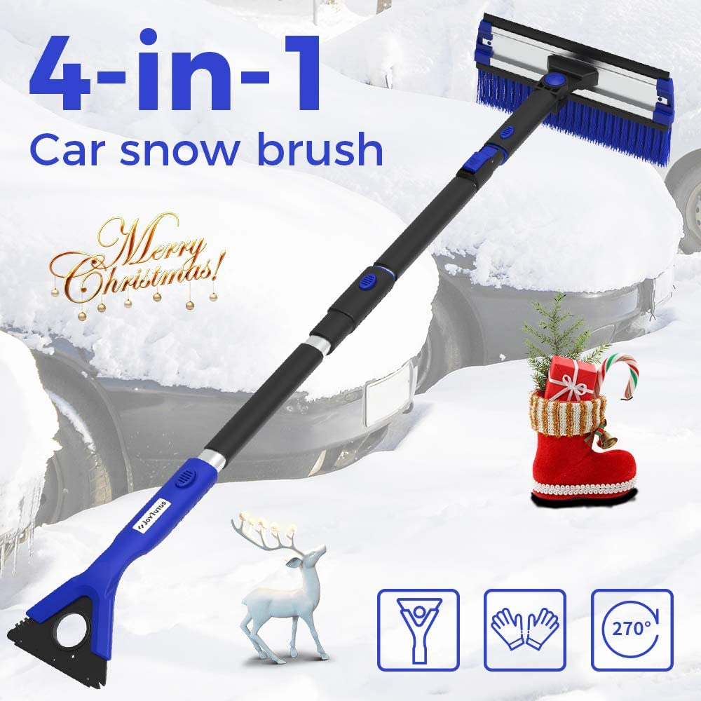 """JOYTUTUS 47"""" Car Snow Brush, 4 in 1 Extendable Foam Snow Brush with Squeegee Ice Scraper, 270° Auto Car Snow Removal Broom, Detachable Car Snow Scraper Brush with Durable Gloves for Car SUV, Blue"""