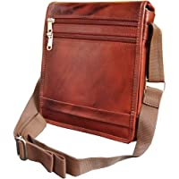 ABYS Genuine Leather Unisex Brown Sling Bag||Messenger Bag||Neck Pouch with Adjustable Strap