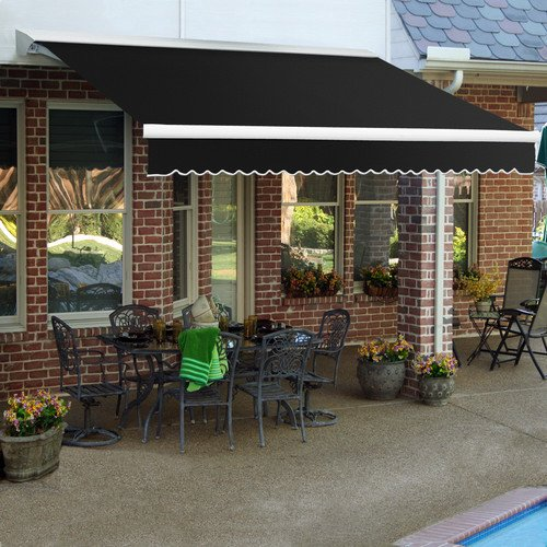 Awntech 8-Feet Destin LX with Hood Right Motor/Remote Retractable Acrylic Awning, 84-Inch Projection, Brown/Tan ()