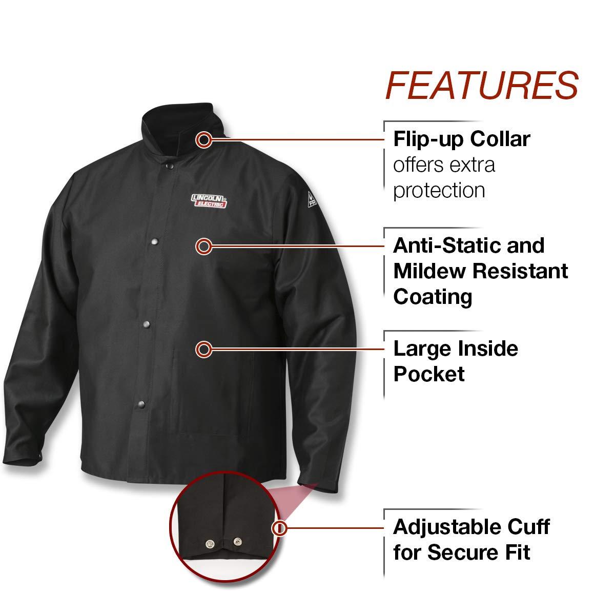 Lincoln Electric  Premium Flame Resistant (FR) Cotton Welding Jacket | Comfortable | Black | XXXL | K2985-XXXL by Lincoln Electric (Image #3)