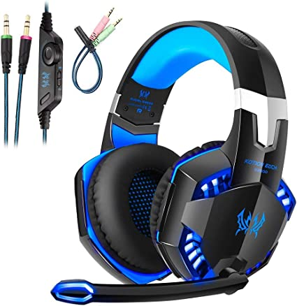 Cascos Gaming PS4, Auriculares Cascos Gaming con Micrófono, Luces led, Jack 3,5mm, Reducción de Sonido y Control de Volumen Profesional Gaming Headset para XBox One, PS4, Smartphones, PC, Portátiles: Amazon.es: Electrónica