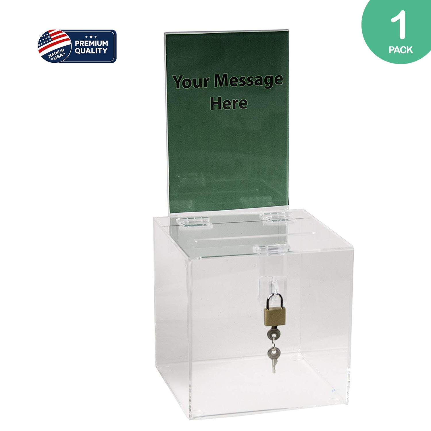Clear-Ad - SBB-66-H - Acrylic Donation Box with Lock and Sign Holder - Plastic Countertop Container - Best for Voting, Charity, Ballot, Survey, Raffle, Contest, Suggestions, Tips, Comments (6x6 Clear) by Clear-Ad